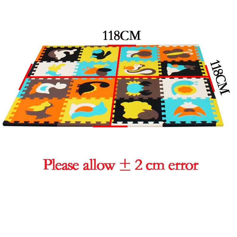 Meiqicool tapis de Puzzle de jeu en mousse EVA bébé 16 pièces, tapis et tapis de sol à emboîtement noir et blanc, tapis 16 carreaux pour kis. Bord libre. - 3