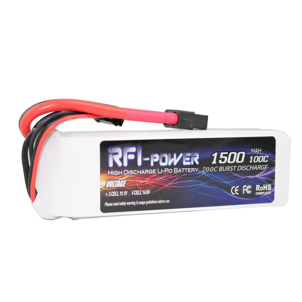 RFI-power 1500mAh 14.8V 100C(Max 200C) 4S Lipo Battery Pack for FPV Racer
