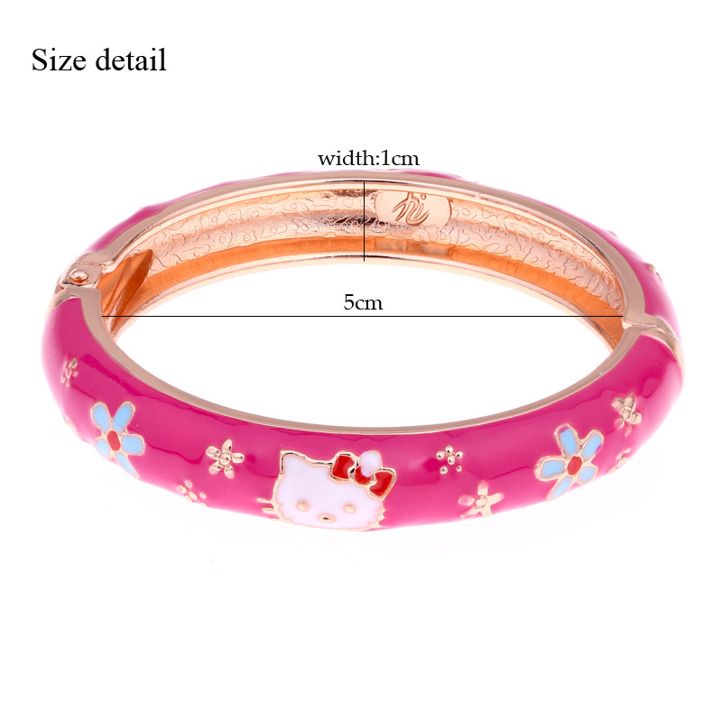Hello Kitty Cuff Bracelets Enamel Gold Color Round Kids Children ...
