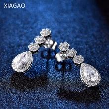 XIAGAO Luxury Wedding Jewelry Shinning Long Dangle Earrings for Women with Stone Crystal Fashion Jewelry Oorbellen Brinco XGE800