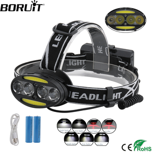 BORUiT 30000 Lumen headlamp 4*T6+2*COB+2*RED LED Headlight Rechargeable Flashlight 7-Mode Flashlight Hunting Torch with Battery