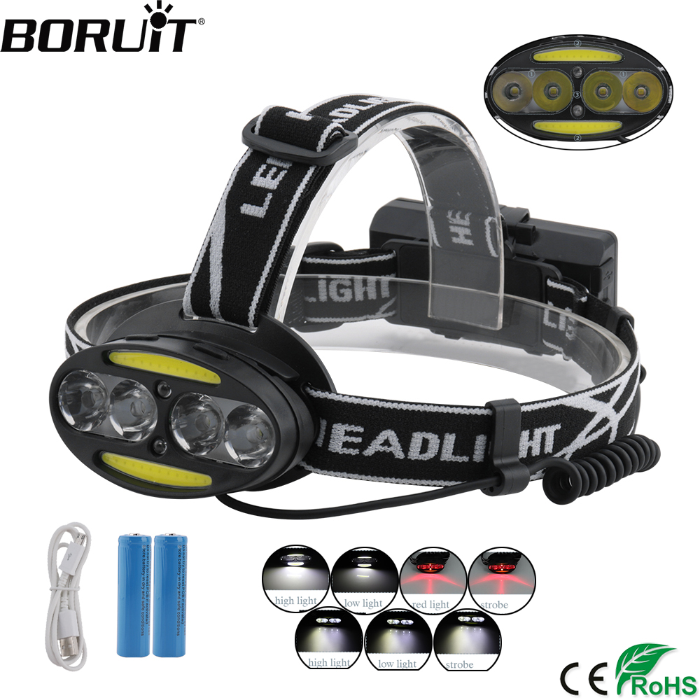 BORUiT 30000 Lumen headlamp 4*T6+2*COB+2*RED LED Headlight Rechargeable Flashlight 7-Mode Hunting Torch with Battery