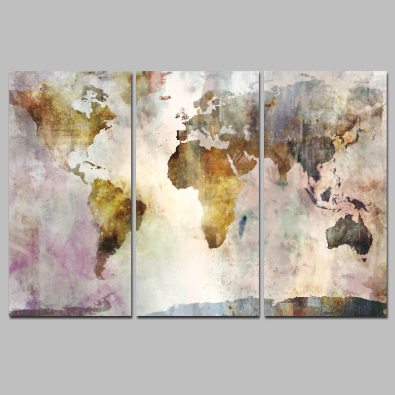 HTB1zpZkbStYBeNjSspkq6zU8VXaF 3Panel Watercolor World Map Modular Painting Posters and Prints on Canvas Scandinavian Cuadros Wall Art Picture For Living Room
