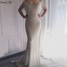 Gümüş Backless lüks Mermaid abiye 2020 kolsuz tam boncuk püskül seksi resmi elbise gerçek fotoğraf LA6290