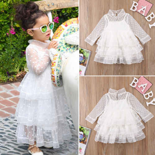 dd54c3d57c Cute Kids Baby Girl Princess White Dresses Long Sleeve Party Dot Lace Tulle  Dress Ball Gown Dress Outfit Clothes Summer