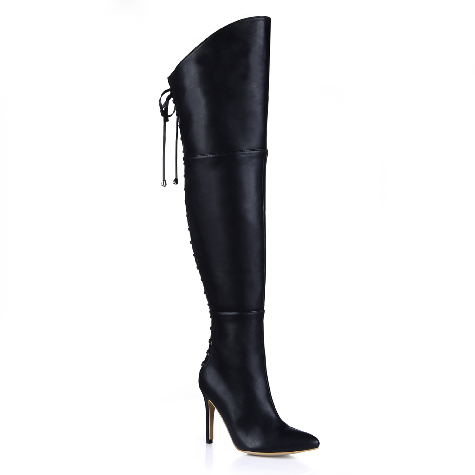 2016 Winter Black Sexy Party Shoes Women Pointed Toe Thin High Heels bandage Ladies Over-the-Knee Boots Zapatos Mujer 70887bt-y4