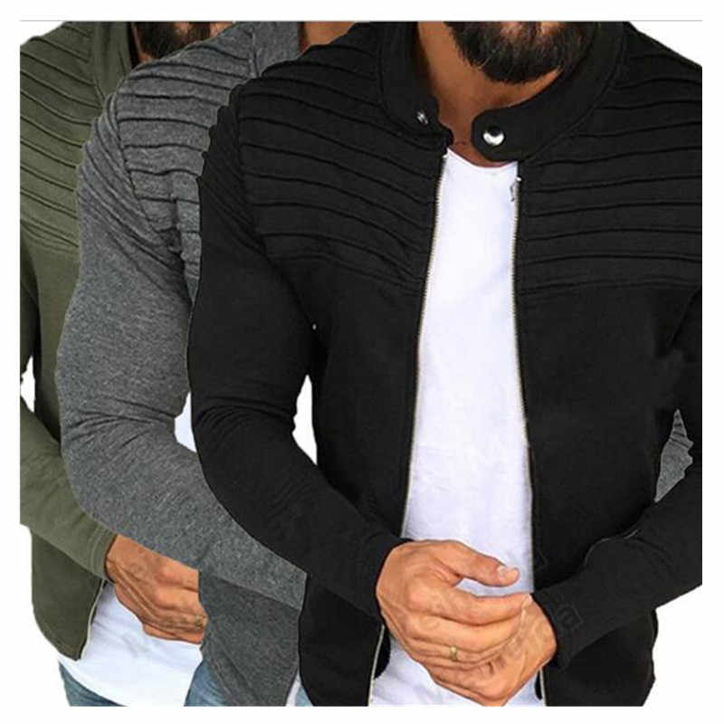 Весна Осень Новая мужская куртка на молнии мужская повседневная Уличная одежда с длинными рукавами однотонное пальто мужская полосатая матовая одежда