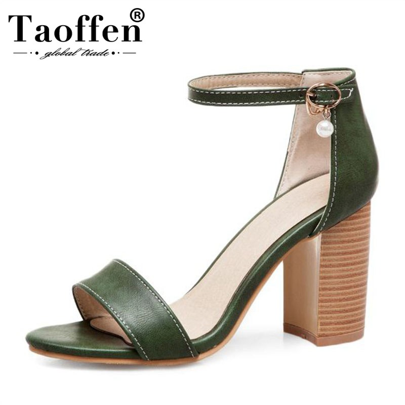 TAOFFEN New 2019 Spring Size 32-50 Women Simple Bead Buckle Sandals High Heels Wedding Dating Party Shoes Women Western Stylish TAOFFEN New 2019 Spring Size 32-50 Women Simple Bead Buckle Sandals High Heels Wedding Dating Party Shoes Women Western Stylish