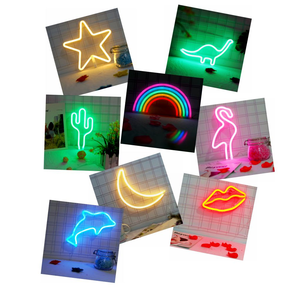 2018 Neon lamp Star Moon Cactus Lips Flamingo Dolphin Dinosaur Rainbow Led Lamp Children's Room Night Light Bar Decor Light jiaderui usb rechargeable battery neon lamp new year christmas wedding decor lamp flamingo cactus moon cloud led home nightlight