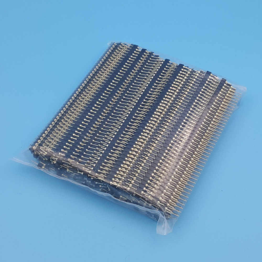 100Pcs Straight 40Pin Male Single Row 2 54mm Gold Plated Round Pin Header Strip