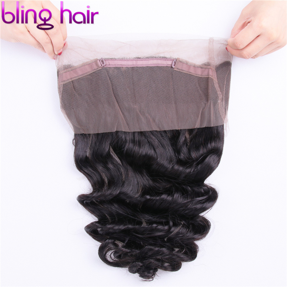 Bling Hair Brazilian Hair Loose Wave Closure 360 Lace Frontal with Baby Hair Bleached Knots Non