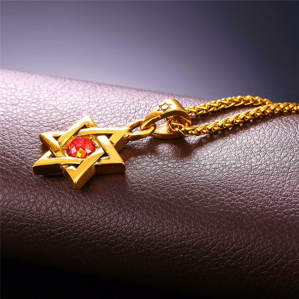 HTB1zp QJVXXXXcyXXXXq6xXFXXXM - Star of David Pendant with Red Stone