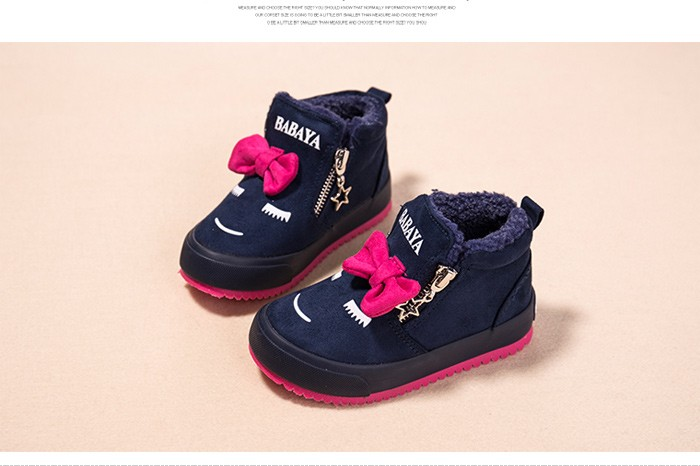 2017 Bowknot Kids Boots Girls Shoes Fashion Hot Warm Cotton Shoes Children Sneakers Winter Boots Cute Cartoon Smile Girls Boots 492 (6)