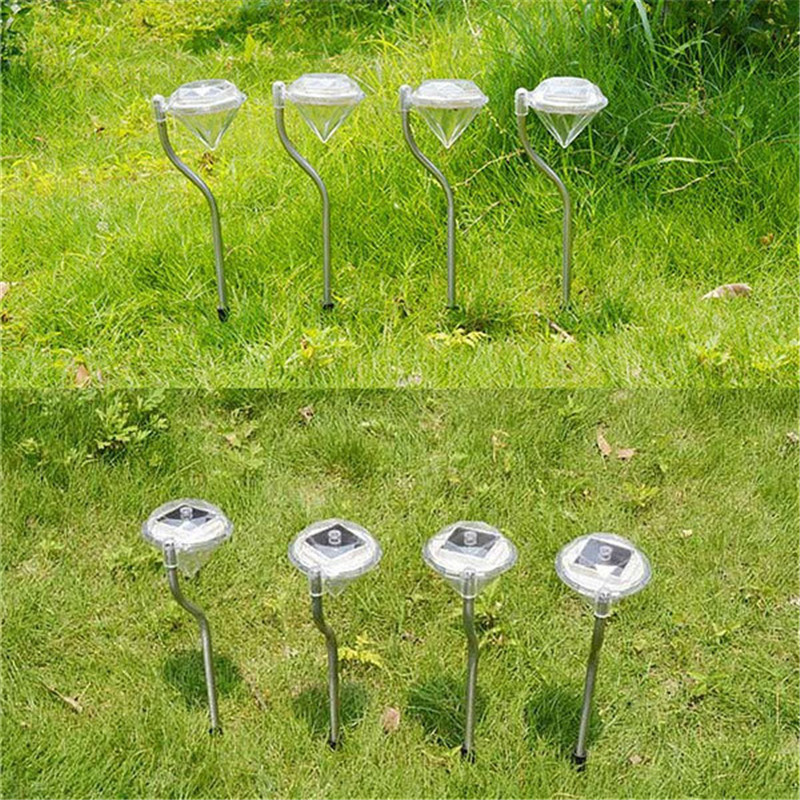 Stainless steel solar power color changing diamond shape led stake light garden path lamp for Solar garden stakes color changing