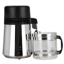 (Buque de LA UE) de Alta Calidad Cuerpo 4L Acero Inoxidable Destilador De Agua Purificador de Agua Pura Filtro con Frasco De Vidrio