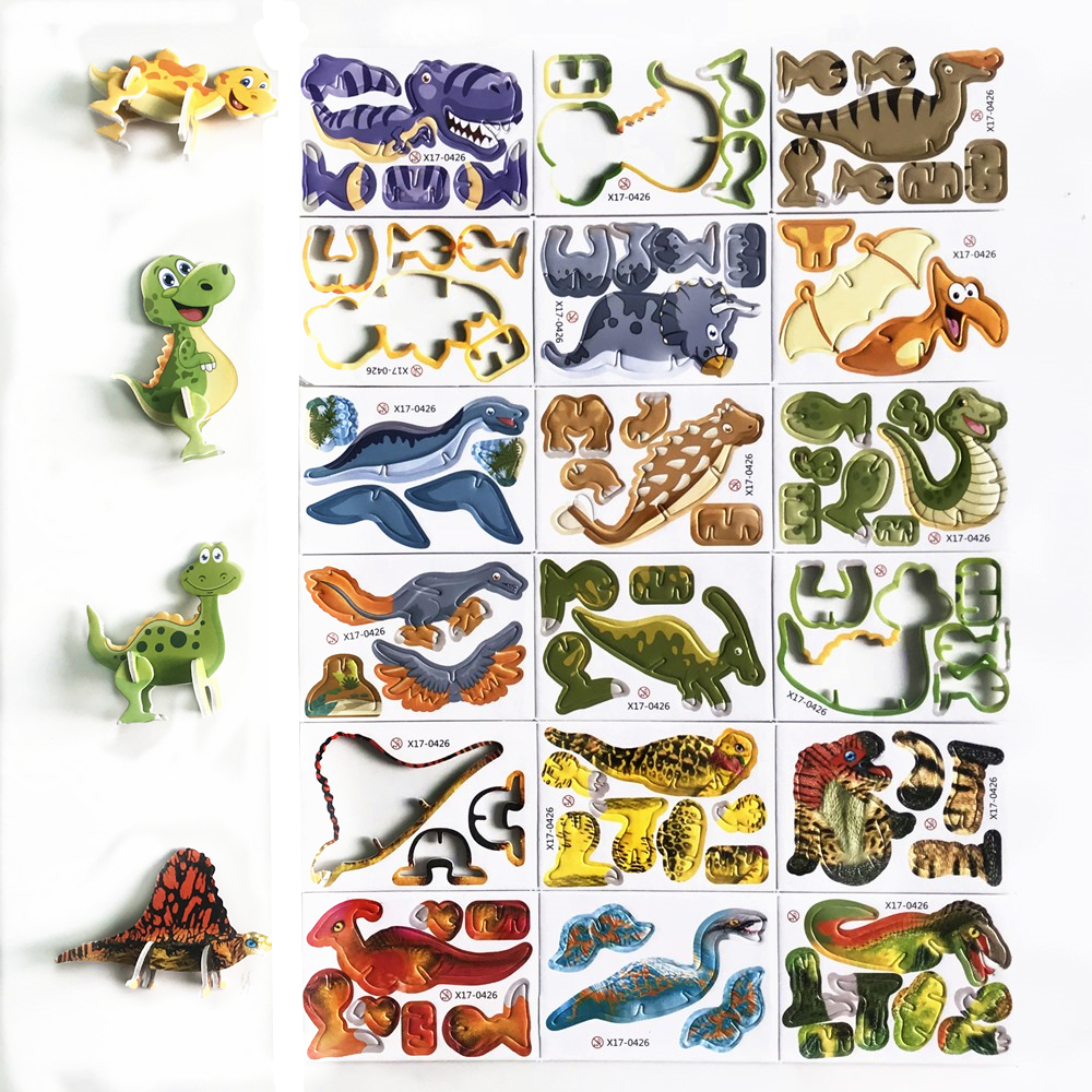 18pcs/set  3D Puzzles Of Various Cut Animals Dinosaur Crocodile DIY Intelligence Eva Puzzle