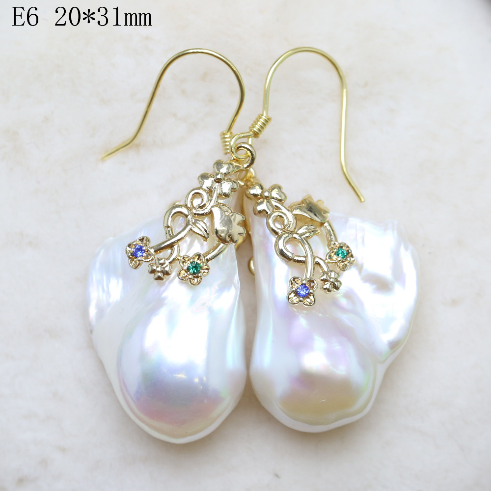 Super flash earring dream Silver natural freshwater pearl baroque pearl shaped pearl earrings Woman's Jewellery artificial pearl circle fan shaped earrings