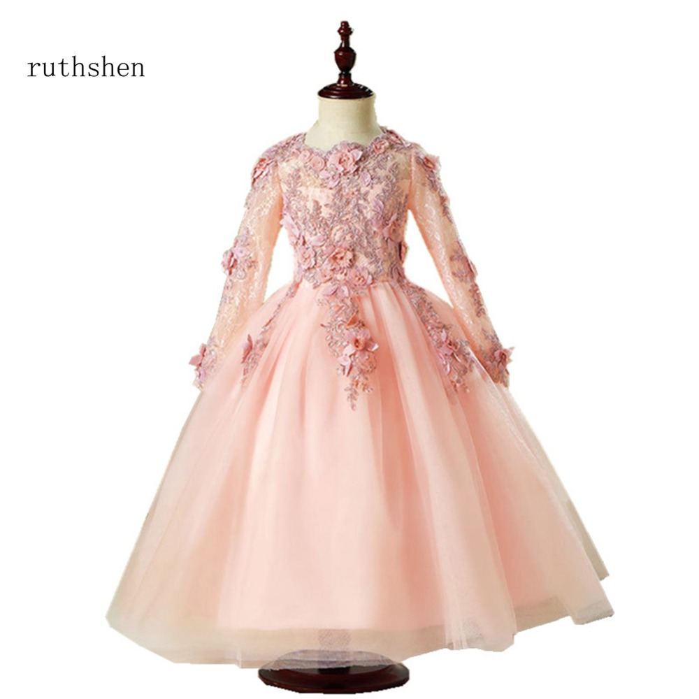 ruthshen 2018   Flower     Girl     Dress   New Ball Gown Wedding Party Princess   Dresses   Burgundy Pink Red   Flower     Girl     Dresses   For Wedding