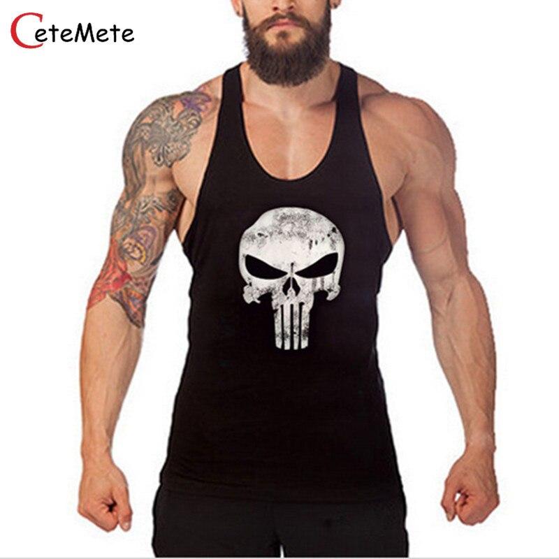 2017 Hot Sale Clothing Fitness Men Tank Top Muscle Men Skull Wear Gymclothing Vest Stringer Sportswear Bodybuilding Undershirt