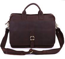 High class leather briefcases cowhide leather men messenger bags genuine leather men's shoulder bag 14″ laptop briefcase #VP6020