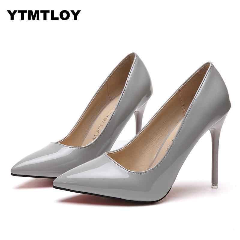 Plusขนาด 34-44 HOTรองเท้าผู้หญิงPointed Toeปั๊มสิทธิบัตรหนังรองเท้าส้นสูงรองเท้าแต่งงานรองเท้าzapatos Mujer