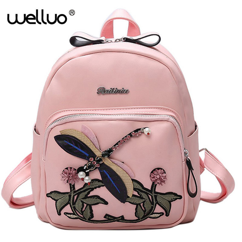 Fashion Embroidery Girl Backpacks Animal beading Cute School Bags Women Backpack PU Leather Female Shoulder Bag