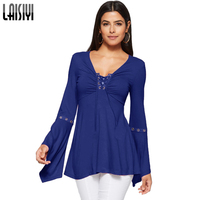LAISIYI 2018 Spring T Shirt Women T Shirt Long Flare Sleeve V Neck Rivet Lace Up
