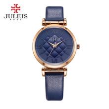 New Lady Women's Watch Japan Quartz Fine Fashion Checkerboard Hours Dress Bracelet Leather School Girl Birthday Gift Julius Box