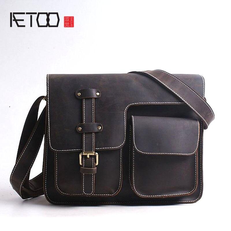 AETOO New handbag casual bag bales crossed shoulder Messenger bag head layer of leather postman package crazy horse skin mens t