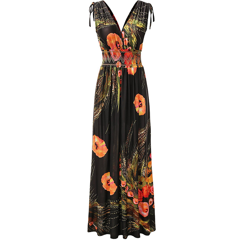 Robe de plage femme ete 2017 Bohemian Wommen Summer Beach Dress Open Back V Neck Sleeveless Plus Size 6XL Long Maxi Floral Dress