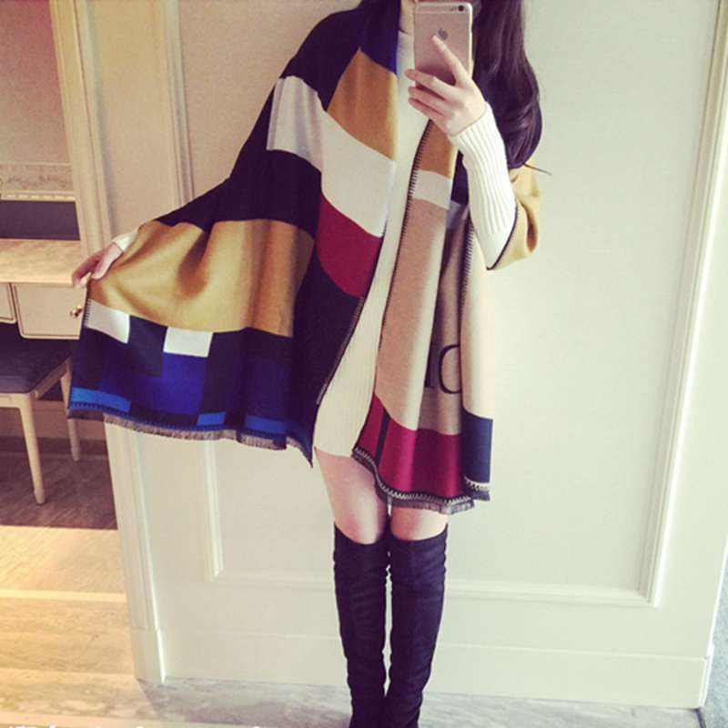 Fashion font b Tartan b font Patchwork Cashmere Shawls And Scarves Wrap Za New Brand Causal