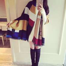 Fashion Tartan Patchwork Cashmere Shawls And Scarves Wrap Za New Brand Causal Echarpe Hiver Femme YJWD468