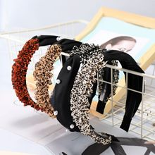 Hair Accessories Leopard Headband Panther Wide Pearl Hairband Korean Accessories Black Fascinator Luxury Headband Hair Bands