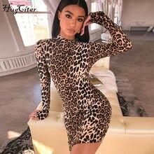 c747972cf9b483 Hugcitar lange mouw hoge hals luipaard print sexy jurken 2018 herfst winter  vrouwen fahsion hoge taille Christmas party jurken