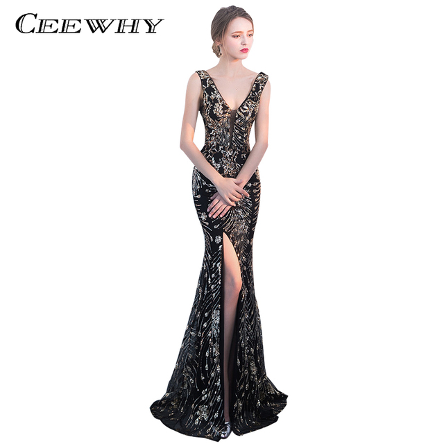 CEEWHY Double Shoulder V-Neck Luxury Mermaid Dress Dubai Long Evening Dresses Sequinated Formal Prom Dresses Robe De Soiree