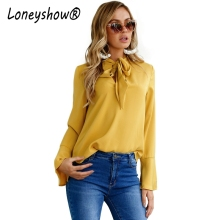 Loneyshow 2017 New Arrival Autumn Office Lady Blouses Bow Neck Flare Sleeve Blouse Women  Slim Blusa Yellow Black Pink Shirt Top