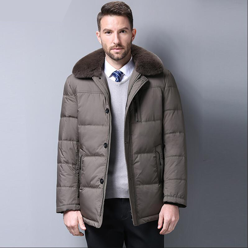 2018 Fashion Brand Winter Men   Down   Jacket Casual Mens Winter Duck   Down     Coat   Fur collar Thicken Parka Men Outwear Mens Clothing