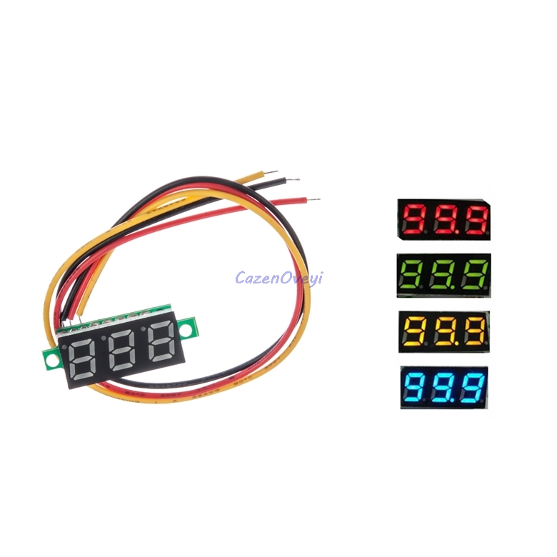 2pcs/lot 0.28 inch ultra small red digital DC digital voltmeter display adjustable head triplet battery voltmeter <font><b>DC0</b></font>-<font><b>100V</b></font> image