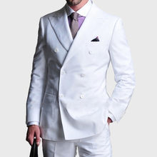 Double-Breasted White men suit Tuxedos 2017 Groomsmen Mens Wedding Party Dinner Best Man Suits men Blazer wear (Jacket+Pants)(China)
