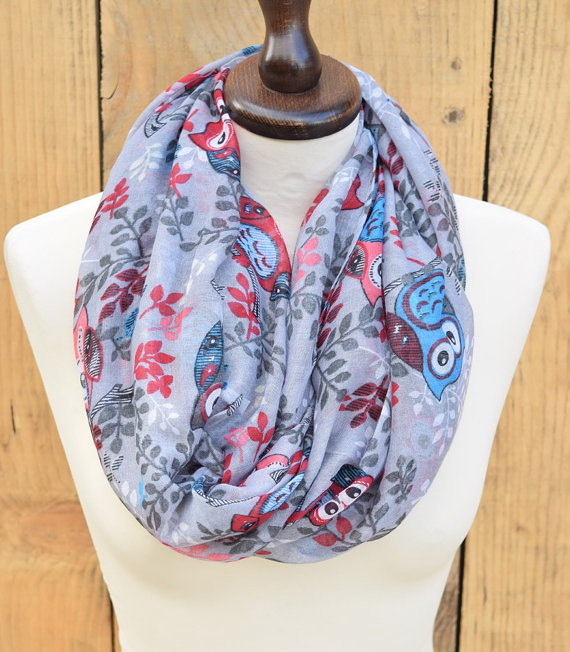 Colourful Owl Print Infinity Scarf Fasionable Infinity Scarf Cotton Owl Infinity Scarf Dress Cover Shawl Cosy Scarf