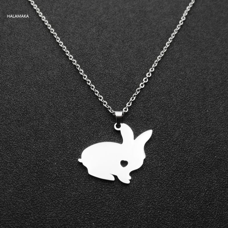 10pcs Love Heart Rabbit Necklace Pendant Stainless Steel Pet Jewelry Personalized DIY Pets Gift