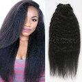 Cheap Yaki Grueso Pelo Virginal 120g Pince Cheveux 7A Rizado Afro rizado Clip en Extensiones de Cabello BY33