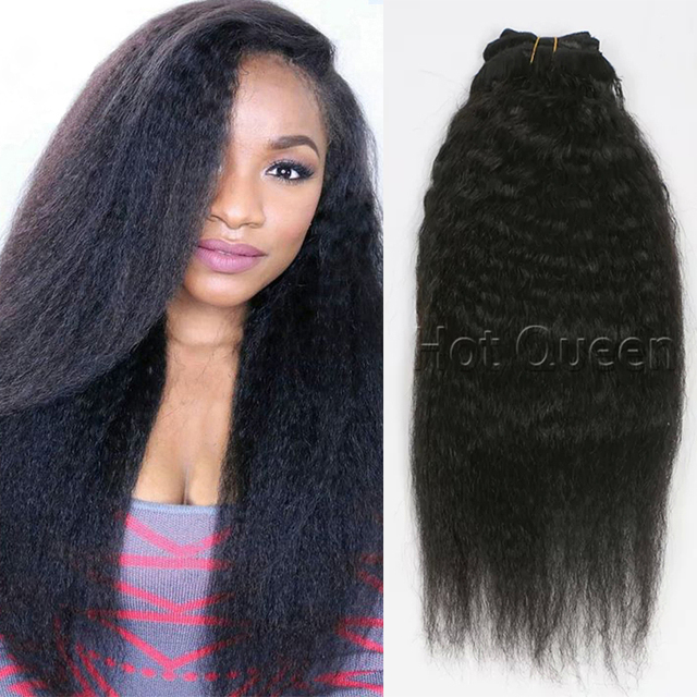 Yaki Grosso Cabelo Virgem barato 120g Pince Cheveux Afro Kinky Curly Grampo em Extensões Do Cabelo 7A BY33