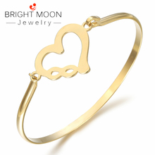 BRIGHT MOON Trendy Bracelets Bangles lovers Rose Gold Color Stainless Steel Bracelet with Heart Punk for Women Best Gift Jewelry bright moon hot sale stainless steel women bracelets charming bangles suitable bracelets for women men jewelry gift