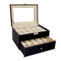 2017 New Promotion 20 Grids Slots PU Leather Double Layers Watch Box Jewelry Display Storage Case