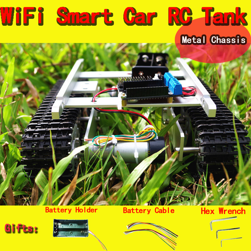 DOIT WiFi RC Robot Metal Tank T100 From NodeMCU Development Kit with L293D Motor Shield DIY Rc Toy Crawler Tracked Model Toys doit v3 new nodemcu based on esp 12f esp 12f from esp8266 serial wifi wireless module development board diy rc toy lua rc toy