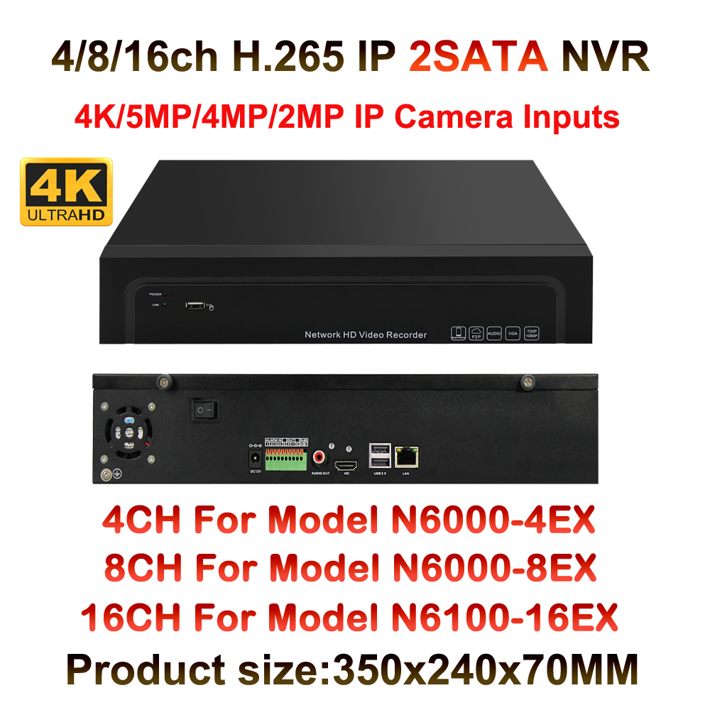 4K/5MP/4MP/3MP/2MP Onvif HD Digital 4CH 8CH 16CH H.265 CCTV NVR Security HDMI Output,Network Video Recorder 2SATA Port Onvif P2P