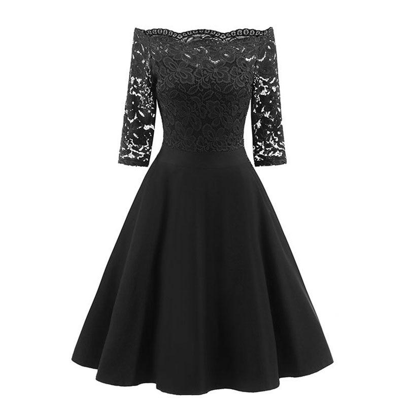 Three Quarter Sleeve Loose Black Lace Dress Soft Women Ladies Cocktail Graduation Party Dress 2018