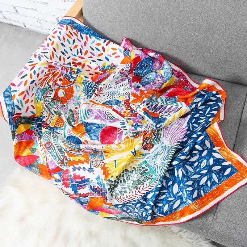 Luxury Brand Shawl Silk Scarf Women Floral Print 100 Twill Silk Scarfs Female 90 90cm Fashion
