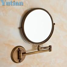 """Antiguo 8 """" de doble cara plegado baño de latón Shave maquillaje espejo montada en la pared extender con Arm 1x3x lupa YT-9102"""